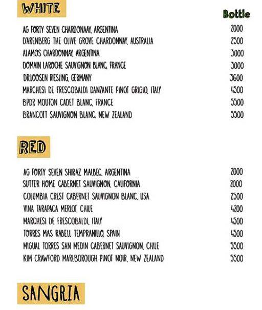 Bar drink menu fargi cafe