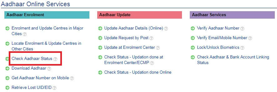 Aadhar online services