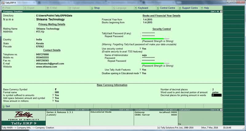 Tally epr9 software