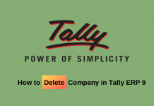 how to delete company in tally