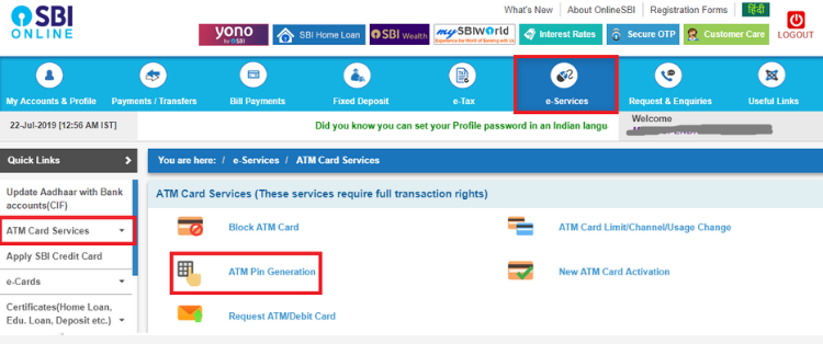 SBI ATM Pin Generation by